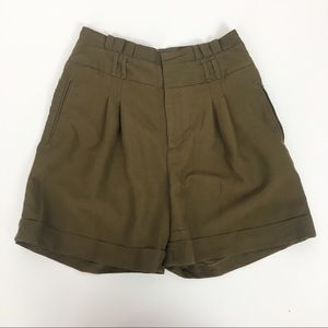 Anthropologie Coquille Olive High Waist Shorts